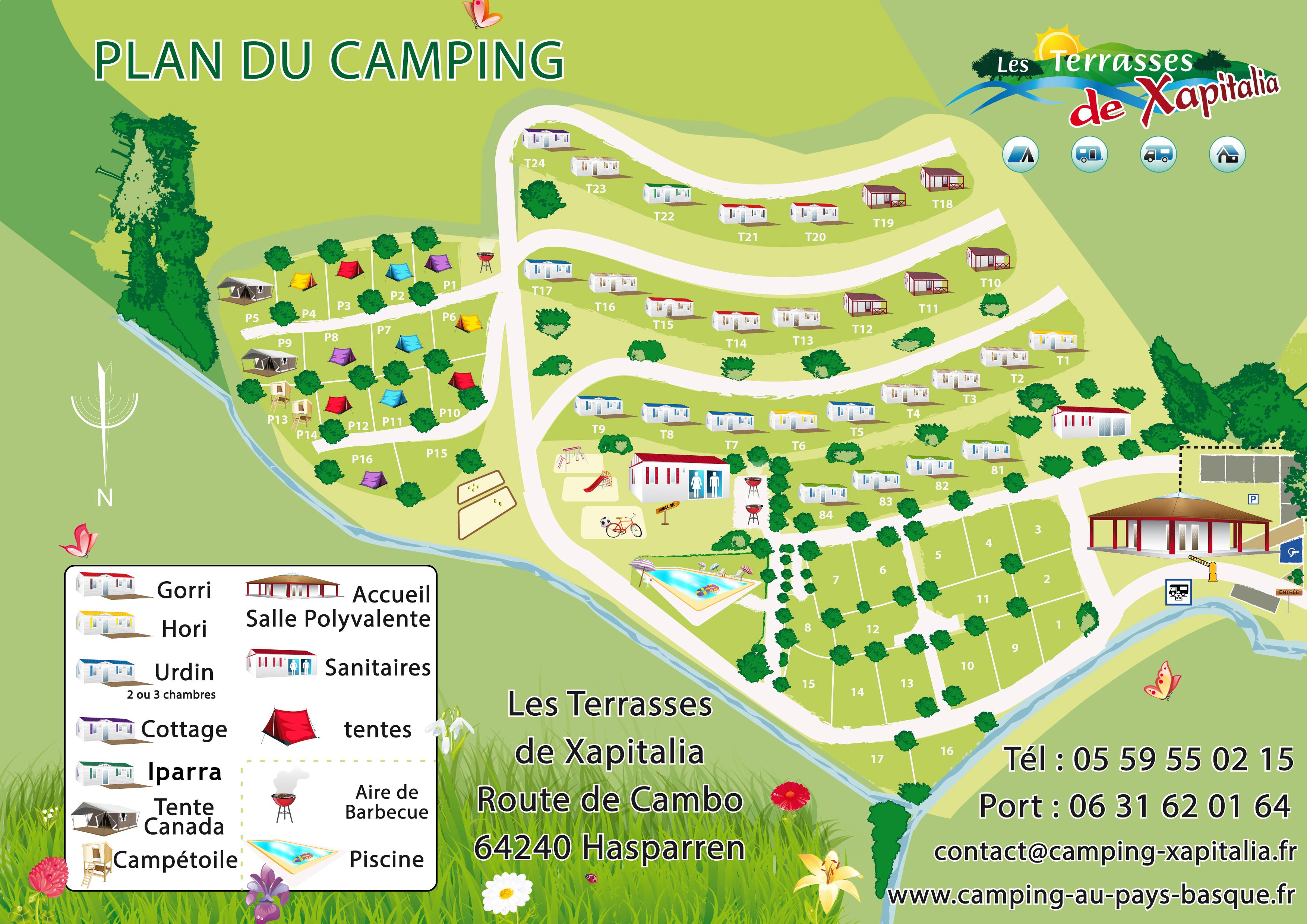 Plan de notre camping hasparren pyr n es atlantiques - Camping les jardins de l atlantique ...